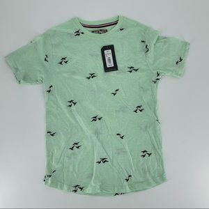 Young men First Wave Green with birds T-Shirt New